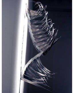 Jointed sculpture on aluminum and steel