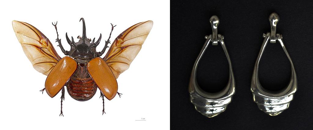 """comparativa de proceso creativo  entre un escarabajo y aretes de plata 9.25 """"coco"""""""