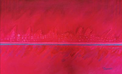 pintura colorista abstracta en tonos cálidos de la artista mexicana Eréndira Plancarte