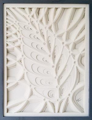 cuadro realizado con papel calado representando un relieve de la forma de un pulgón
