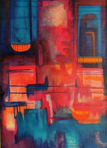 pintura colorista abstracta de la artista mexicana Eréndira Plancarte