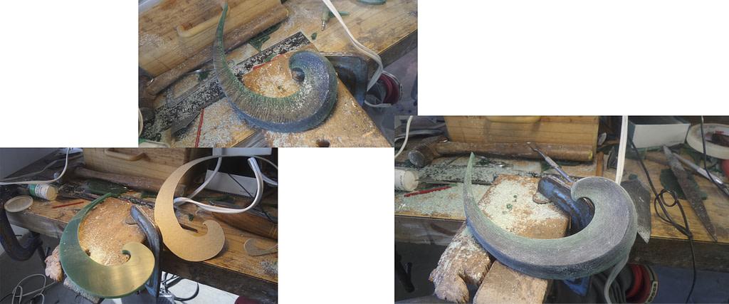 diferentes etapas en la talla de la cera para collar drosera
