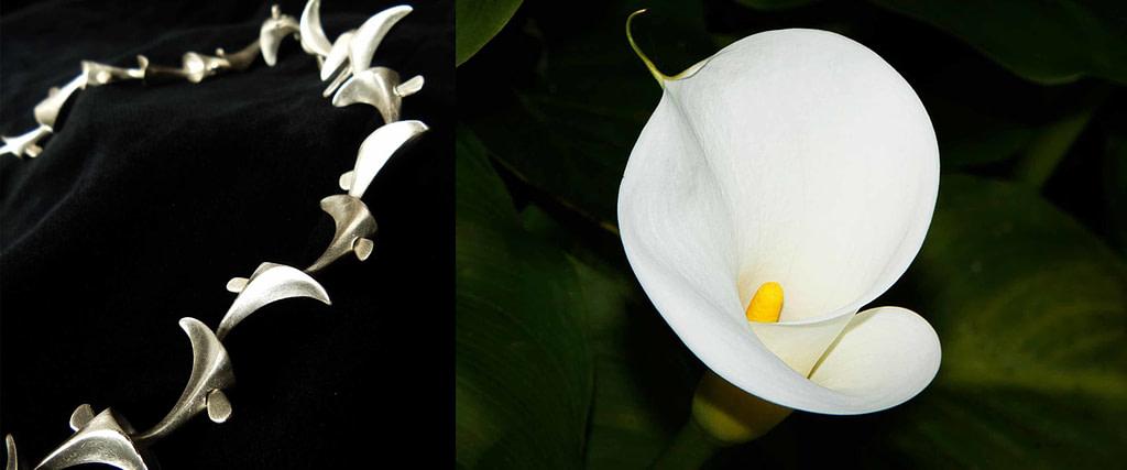 """comparativa de proceso creativo entre la pulsera """"calas"""" y una flor de cala blanca"""